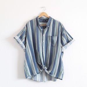 Vintage Bon Homme Denim Cotton Striped Shirt
